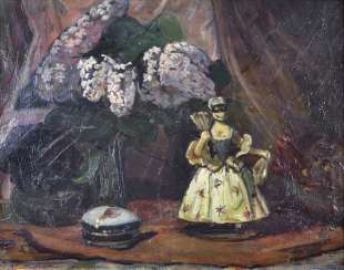 M. REFERS to LAUTENSCHLAGER. STILL LIFE WITH PORCELAIN FIGURE
