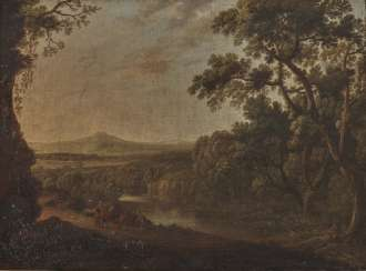 Italo-Flemish around 1700, river landscape with trees and figures