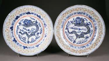 STAMPS SOME PLATE WITH dragon painting China, late Qing dynasty