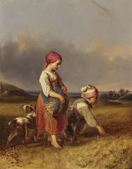 Two children with dog post-harvest in the harvested grain field, the last Ears of corn, collecting. , Ranftl, Johann Matthias 1804 Vienna - 1854, ibid.
