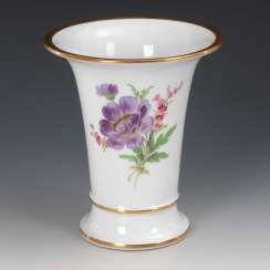 Crater vase with flower painting, Meissen.