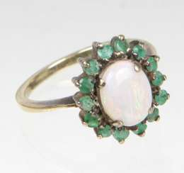 Opal Ring with emerald