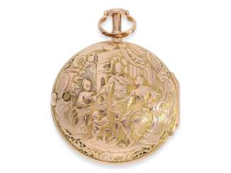 Pocket watch: rare and exceptionally beautiful Bavarian bicolour repoussé double-case spindle watch with repeater, Jacob Rottenfelder Öttingen No.680, approx. 1760