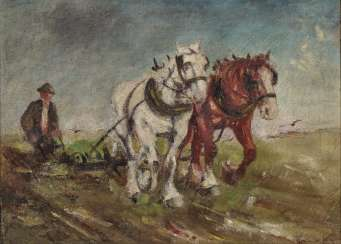 László Pataky von Sóspatak, attributed to, farmer with horse-drawn vehicle
