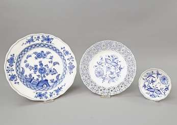 MEISSEN group of 3 plates, 20. Century: