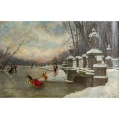 "HIRTH DU FRENES, RUDOLF (1846-1916), ""In the snow-covered park at Nymphenburg Palace"","