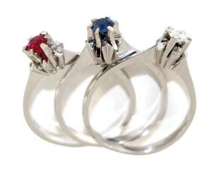 3 Combination Rings 585 White Gold