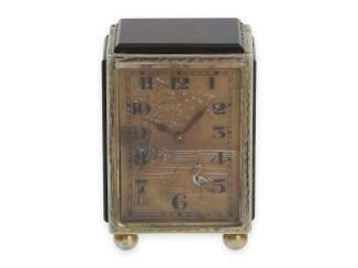Travel clock/Carriage Clock: extremely rare miniature carriage clock with Jasper housing and agate dial, probably Lacloche Frères, Paris, No. 5373, CA. 1920