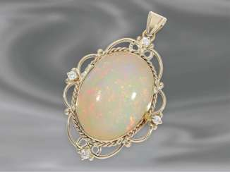 Trailer: a very decorative carved vintage pendant with diamond trimming and valuable, large Opal, 18K Gold