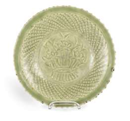Celadon dish with decor of a Lotus in the mirror