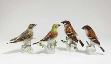 Four songbirds - goldhammer, lark and two Meissen sparrows