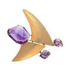 Pendant/brooch with amethysts