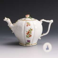 Baroque teapot with flower painting