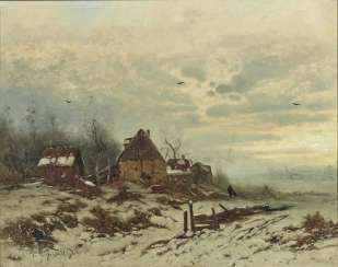 Winter landscape with a farm