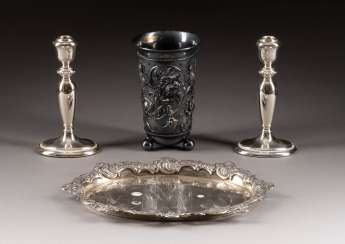 RAAR CANDLESTICK, TRAY AND SPHERICAL CUP
