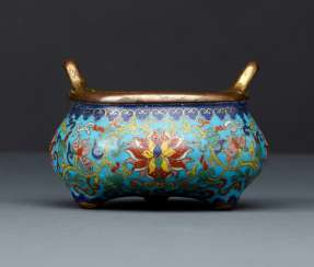Imperial Cloisonné incense burner in Bronze with partial fire gilding