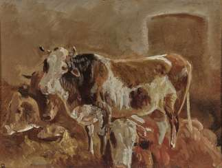 Anton Braith, cows in the stable