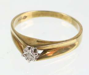 Ring - Yellow Gold 333 Brillant Solitaire