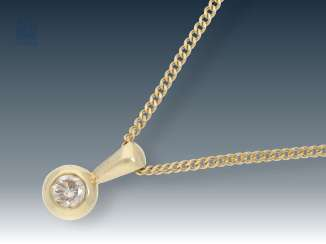 Necklace/Collier: fine, gold chain with diamond/engagement pendant, half carat stones