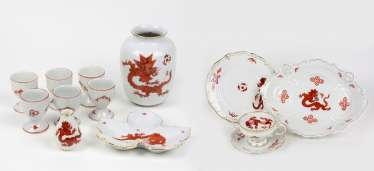 Set of egg cups and other Red dragon decoration