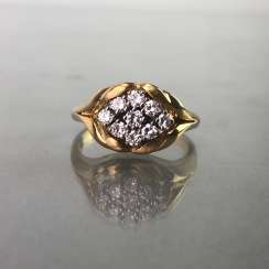 Ring / sterling silver ring brilliant with brilliant-cut diamonds of 0.7 carats. Yellow gold and white gold 750 / 18 K.