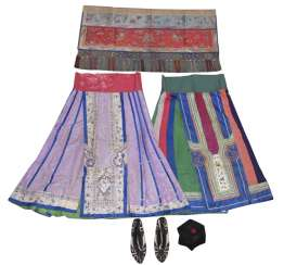Group of textiles, two silk-pleated-skirts