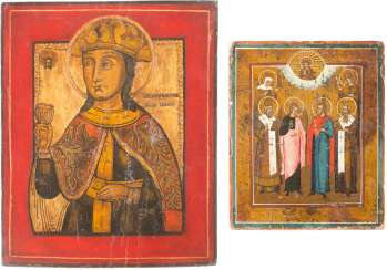 TWO ICONS: PATRONAL ICON AND SAINT BARBARA