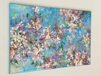 Blossoming almond tree. Diptych