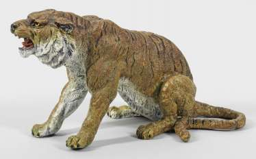 Large Vienna bronze roaring tiger