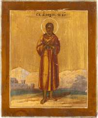 A SMALL ICON WITH SAINT ALEXIUS