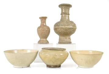 Three Bowls And Two Vases,