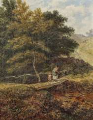 J. Holland - Forest Streams with Wooden Bridges and Figure Staffage, 2nd half of the 19th century
