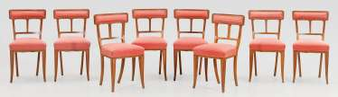 Set of eight art Nouveau chairs