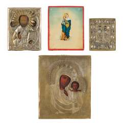 THREE ICONS AND BRONZE ICON WITH MERCY IMAGES OF THE MOTHER OF GOD AND SAINT NICHOLAS OF MYRA Russia