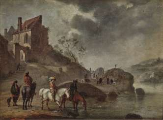 Netherlands - Horsemen in Riverside Landscape, 17th century