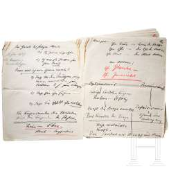 Nine-page manuscript by Hitler for his speech to the offspring of the Wehrmacht officers on January 18, 1939 in the Reich Chancellery