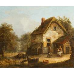 "PAINTER 18./19. Century, ""peasant family in front of thatched house"","