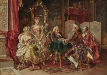 Rococo interior with card players