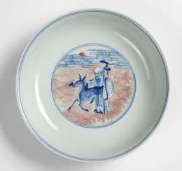 Plate with the 8 Daoist Immortals and Shoulao in copper red and underglaze blue