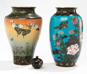 Three Cloisonne vases with multicoloured decor v. butterfly or a dragon