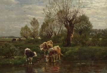 Riverside landscape with cows