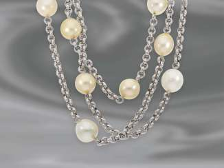 Necklace/Collier: interesting, very decorative multi-row South sea cultured pearl necklace, 750 Gold, unworn