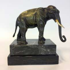 Bronze sculpture: elephant on marble and granite base.