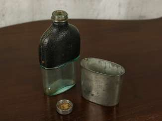 "Antique flask with leather ""James Dixon & Sons"""