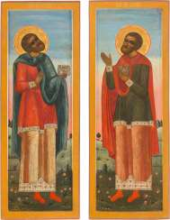 PAIR OF MONUMENTAL ICONS FROM A CHURCH ICONOSTASIS WITH THE DOCTOR SAINTS COSMAS AND DAMIAN