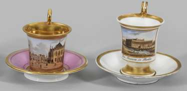 Two Biedermeier-view cups from Berlin and Bremen