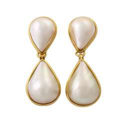 Earrings with 2 drop-shaped Mabe pearls each
