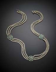 Three strand mm 3.50-4.50 circa natural saltwater pearl necklace with old mine diamond and emerald spacers