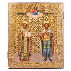 Rare signature icon of St. Nicholas the Wonderworker and the Holy Prince Alexander Nevsky
