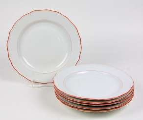 Meissen 6 Dinner Plates *Orange Edge*